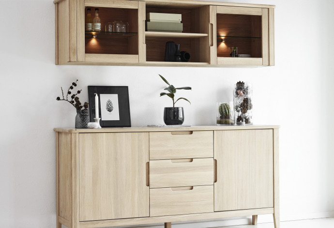 Caso 600 Sideboard with wall mounted display cabinet 2538+2634